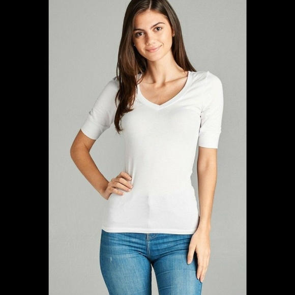 hot sales where to buy classic Tops | Womens Vneck Tshirt 34 Elbow Length Solid White | Poshmark